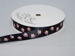 Black  with Baby Pink Paw Print  Satin or Grosgrain ribbon 2, 20 25 metres Double sided 16mm 15mm